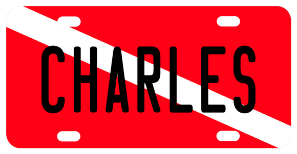 red plate with white diagonal stripe typically known as the divers flag on a custom license plate personalized with any name for scuba divers