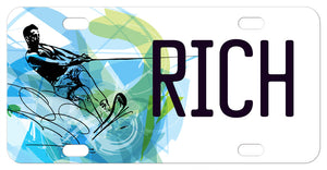 Fractal Design Water Skier personalized license plates with any name or custom text