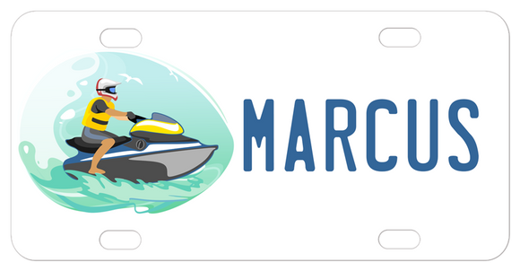 Custom License Plate with Wave Runner Design and personalized with any name and custom text