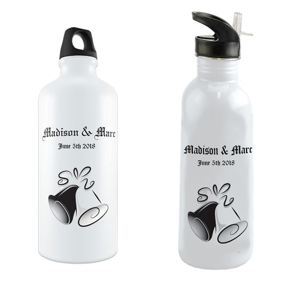 Personalized Water Bottles with wedding Bells, Couples Names and Marriage Date