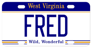 West Virginia custom mini license plate printed with your name in the center