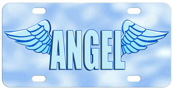 Wings coming from the left of the first letter and the right of the last letter of any name with a block letter font. The background is blue and white resembling hazy clouds on a blue sky