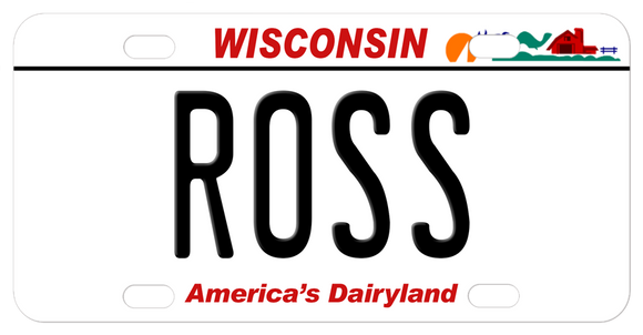 Wisconsin mini bike plate custom printed with any name in the center
