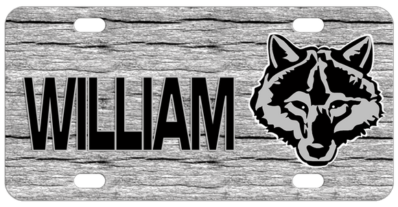 Wolf head in black and gray on grayish wood background any name personalized