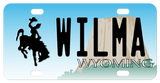 Personalized mini Wyoming license plate with bucking horse and devils tower