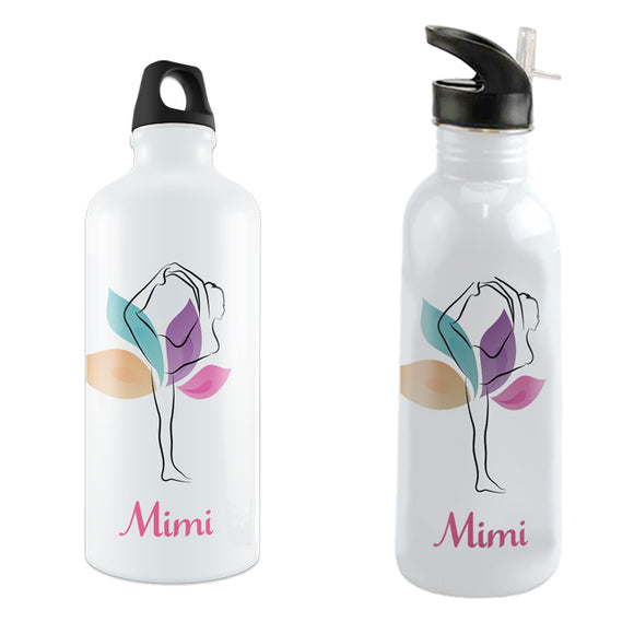 Soft Pastel Yoga Pose Asana Theme Water Bottles with any name