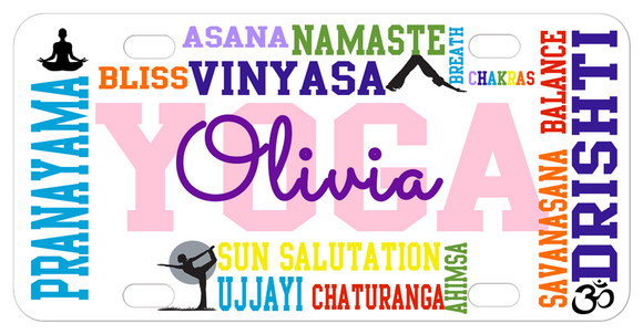 Yoga theme terms randomly placed on a custom mini license plate or front car tag personalized with any name
