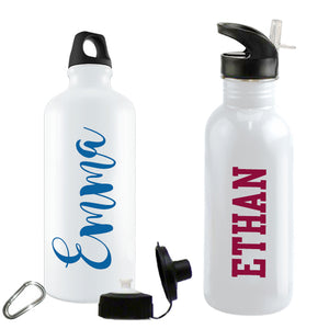 Showing two styles of water bottles with a male and female name in different fonts