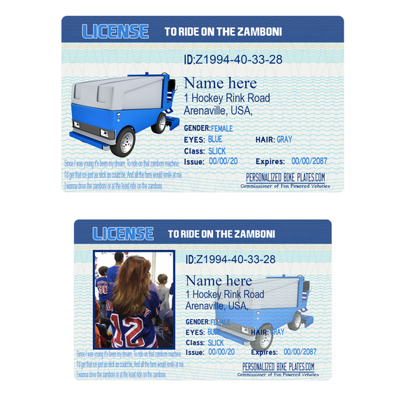 Novelty Zamboni Drivers License - Joke Zamboni License