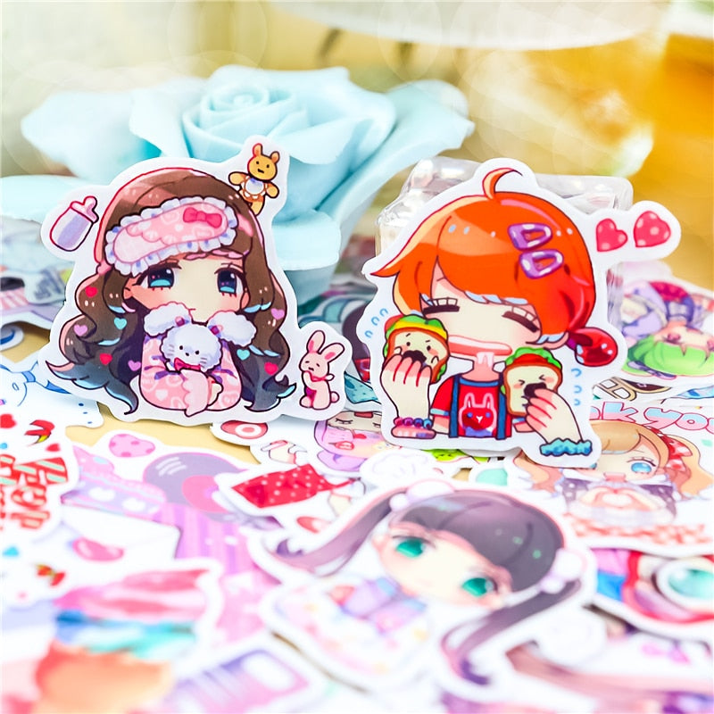 40pcs Chibi Anime Girl Stickers