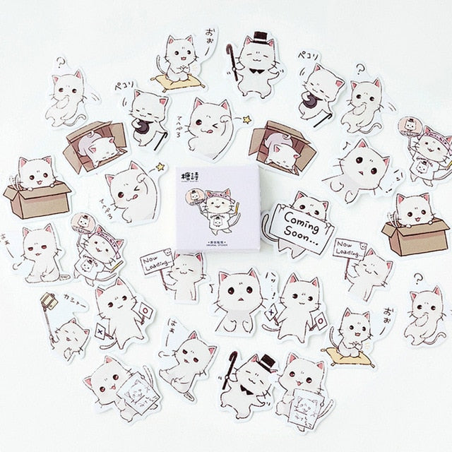 45 Pcs Kawaii Japanese Neko Cat Stickers
