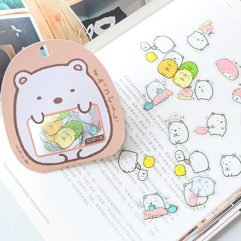 50 Pcs Japanese Kawaii Animal Stickers