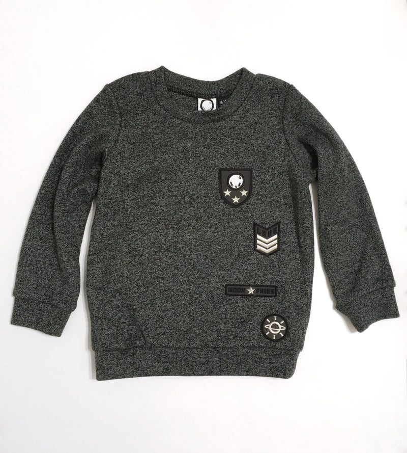Embroidered Patch Melange Sweater