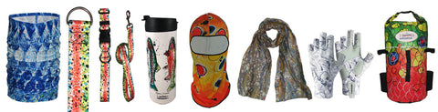 Shop now for sun protective fishing print accessories Fincognito fly fishing apparel