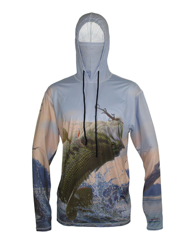 Bass sun protective fishing graphic hoodie.