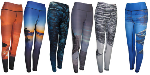 Ocean print women's leggings yoga running tights with great sun protection