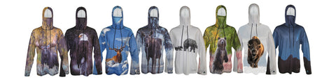 Shop now for Mountaincognito sun protective graphic hoodies with wildlife prints.