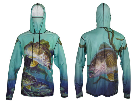 Walleye sun protective fishing hoodie with built in facemask.