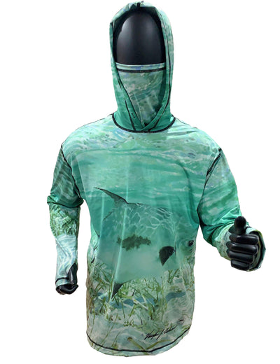 Permit Sunpro Hoodie fishing clothing brand offers SPF Protection from harmful UV Rays.  Set a Theme for a Wedding or just spend a day on the flats fishing.