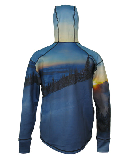 Above The Clouds 1/4 Zip Hoodie mountain clothing brand offers SPF Protection from harmful UV Rays.  Enjoy the picture hoodies or just spend a day skiing.