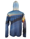 Above The Clouds SunPro Hoodie back view mountain clothing brand offers SPF Protection from harmful UV Rays.  Enjoy the picture hoodies or just spend a day skiing.