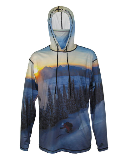 Above The Clouds SunPro Hoodie mountain clothing brand offers SPF Protection from harmful UV Rays.  Enjoy the picture hoodies or just spend a day skiing.