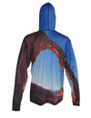 Arch Climber shows a climber on Corona Arch outside of Moab.  Canyonlands graphic sun protective hoodie. Back view.