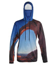 Arch Climber shows a climber on Corona Arch outside of Moab.  Canyonlands graphic sun protective hoodie.