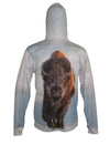 Bison graphic wildlife sun protective hoodie.  Wear an image from Yellowstone National Park. Back view.