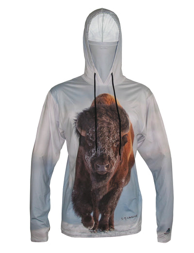 Bison graphic wildlife sun protective hoodie.  Wear an image from Yellowstone National Park.