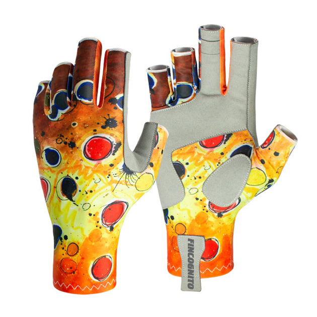 These brown trout sun gloves offer UPF50 sun protection.  Fish art by Ryan Keene.  Along with fly fishing and spin casting, these are great for hiking, mountain biking, kayaking, and other outdoor activities.
