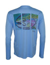 Wear this rainbow trout sun protection fishing shirt for UPF50 solar performance. Back view.