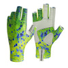 These dorado print sun gloves offer UPF50 sun protection.  Great for salt water fishing, ocean fishing, and lake fishing.  Along with fly fishing and spin casting, these are great for hiking, mountain biking, kayaking, and other outdoor activities.