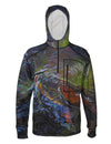 Green Brown Heavyweight 1/4-Zip FlexShell Fishing Hoodie