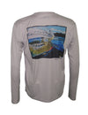 Men's Sun Protective Fishing Shirt Grey/Whiplash Rainbow Trout