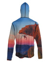 "Climbers on ""The Bill"" of Mt. Lemon near Tucson.  SunPro hiking and climbing sun protection graphic hoodie. Back view."