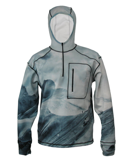 Jagged Edge 1/4 Zip Hoodie mountain clothing brand offers SPF Protection from harmful UV Rays.  Enjoy the picture hoodies or just spend a day skiing.