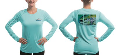 Women's Hen Rainbow/Blue Solar Performance L/S T