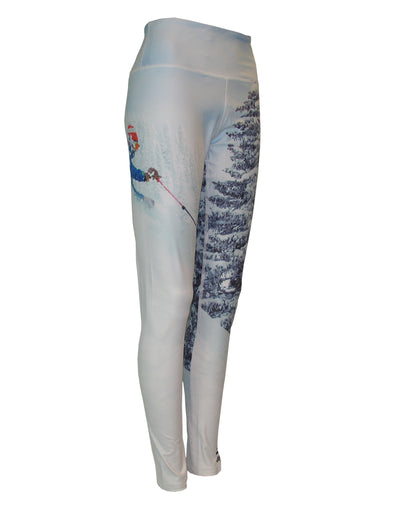 Pow mountain image on a graphic yoga legging. Great for climbing, skiing, snowboarding, base layer, winter sports. Back view