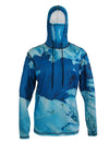Making Tracks mountain graphic sun protective hoodie.  Skiing clothing.