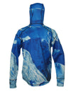 Making Tracks 1/4 Zip Hoodie back view mountain clothing brand offers SPF Protection from harmful UV Rays.  Enjoy the picture hoodies or just spend a day skiing.
