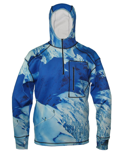 Making Tracks 1/4 Zip Hoodie mountain clothing brand offers SPF Protection from harmful UV Rays.  Enjoy the picture hoodies or just spend a day skiing.