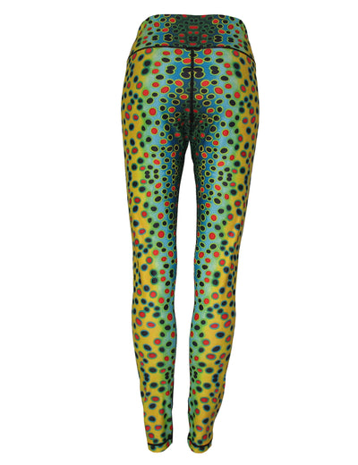Brown Trout All Sport Leggings great womens yoga pants, trail running to carrying the backpack on the trail. Womens fashion statement at a party or casual wear. Mens Yoga pants or fly fishing apparel under your waders or wet wading.