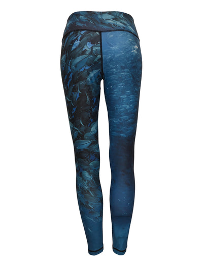 Scuba Jacks surfing and diving beach leggings offer sun protection, perfect for a day at the beach or on the ocean.  Back View.