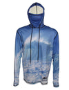 Blue Wave surfing hoodie offers sun protection with a built in face mask.  Perfect for a day at the beach or on the ocean.