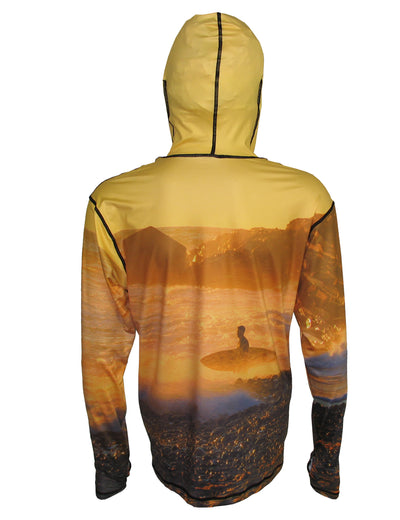Golden Surfer surfing hoodie offers sun protection with a built in face mask.  Perfect for a day at the beach or on the ocean. Back view.
