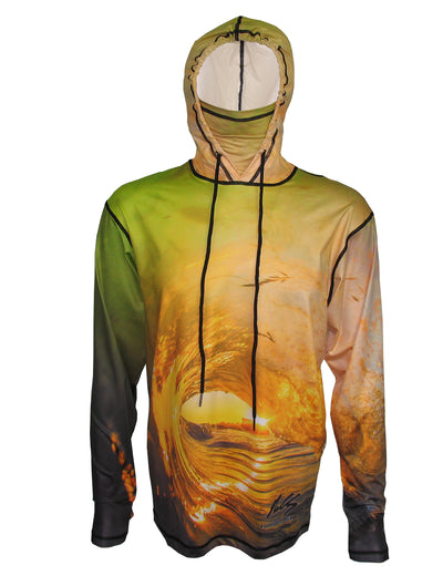 Golden Wave surfing hoodie offers sun protection with a built in face mask.  Perfect for a day at the beach or on the ocean.