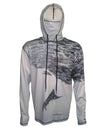 Striped Marlin surfing and diving beach hoodie offers sun protection with a built in face mask.  Perfect for a day at the beach or on the ocean.