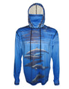 Porpoises surfing and diving hoodie offers sun protection with a built in face mask.  Perfect for a day at the beach or on the ocean.