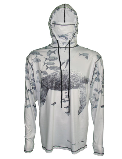 Sea Turtle surfing and diving beach hoodie offers sun protection with a built in face mask.  Perfect for a day at the beach or on the ocean.